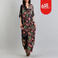 原创设计民族风女装 印花V领连衣裙大码宽松文艺复古长袍裙子GH114 图片色 均码
