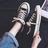 手绘芝麻街帆布鞋女学生2019夏季新款韩版潮鞋夏款小白鞋涂鸦板鞋