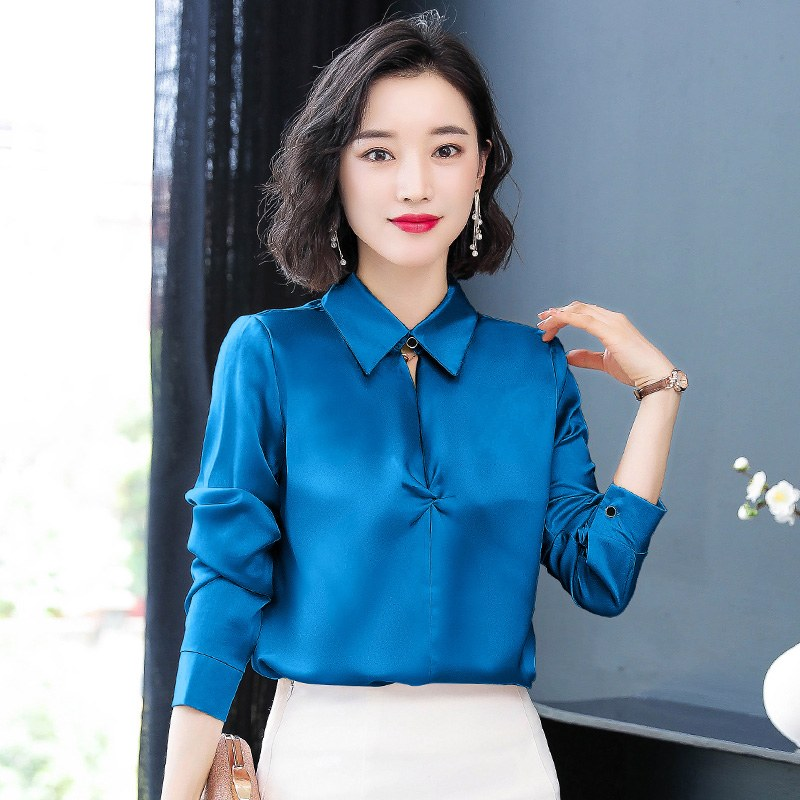 加绒衬衫女长袖秋冬装2019年洋气设计感小众缎面女士职业衬衣