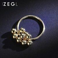 ZENGLIU韩国简约食指戒指女 镀金色圆形指环日韩潮人情侣首饰品