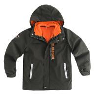 大男童外套秋冬装中大童加绒两件套户外儿童三合一冲锋衣