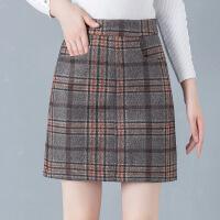 时尚半身裙女2018冬裙新款韩版修身显瘦格子短裙a字包臂一步裙潮