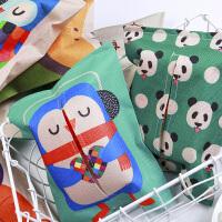 彩色可爱动物创意家居布艺纸巾盒 家用车用纸巾盒抽纸套餐巾盒套