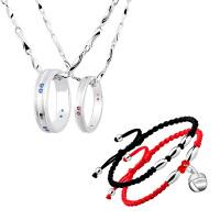 转运珠铃铛纯银脚链刻字情侣项链一对戒指吊坠 简约韩版生日礼物