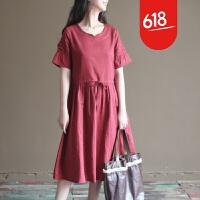 原创夏装新款森女系复古棉麻文艺宽松大码短袖连衣裙长裙女GH073 酒红色