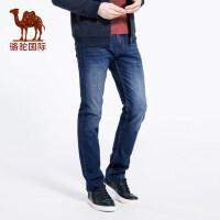camel 骆驼 秋季新款时尚男士商务休闲直筒微弹长裤 中腰牛仔裤