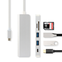 Type-c笔记本扩展坞USB-C读卡器PD雷电3转换器HUB集线器USB 钛晶银 其他