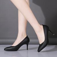 工作鞋女黑色高跟鞋女鞋春秋细跟职业尖头单鞋中跟OL女式皮鞋 黑色 7.5厘米