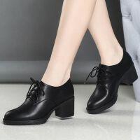 单鞋女中跟系带小皮鞋女韩版粗跟黑色工作鞋2019秋季新款百搭 黑色