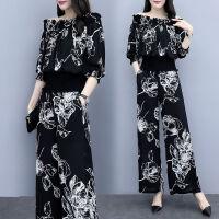 休闲套装女夏时尚2019洋气雪纺一字肩上衣阔腿裤显瘦两件套潮 黑色