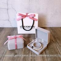 珠宝盒耳钉项链包装灰色链表饰品戒指清新首饰盒礼品盒结婚戒指耳环公主女生礼物 手提袋 加灰手镯盒 加丝带