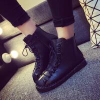 原宿马丁靴女秋季短靴英伦风高帮复古冬天皮鞋平底韩版学生二棉鞋