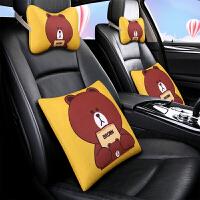 黄色布朗熊车内车载抱枕车用腰靠一对头枕护颈枕四件套靠垫