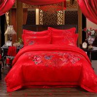 全棉贡缎刺绣大红色婚庆四件套绣花新婚结婚床上用品六八十多件套
