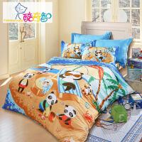 [当当自营]富安娜家纺 酷奇智 儿童四件套 卡通纯棉床单被套 全棉床品 快乐奶爸 蓝色1.5米(5英尺)床