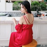 波西米亚吊带连衣长裙女夏季2018露肩性感泰国海边度假沙滩裙 红色