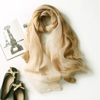 新款围巾渐变色含桑蚕丝丝巾女长款桑蚕丝防晒羊毛夏季百搭鞋