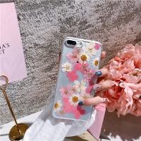 日�n真花�~子iPhone7plus手�C��6s全包透明��ぬ着�款8x粉嫩 iphone6/6s 粉色花
