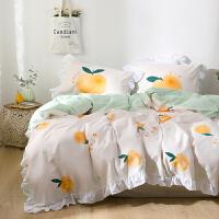 多喜爱四件套全棉纯棉床上用品简约床单被套INS风气泡桃子