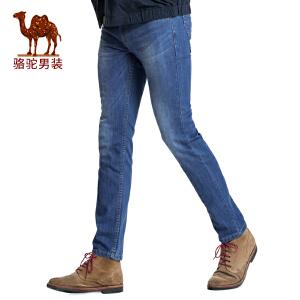 骆驼男装 2017春季新品男士商务休闲长裤子拉链合体直筒牛仔裤男