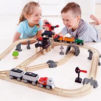 Hape儿童模型玩具火车轨道采矿运载套3岁+