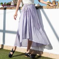 生活在左春夏季女装新款纯色钩花一片式半身裙气质淑女中长款裙子