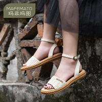 玛菲玛图民族风露趾凉鞋女2019新款夏天搭配裙子的鞋子真皮平底复古草编鞋2018-8