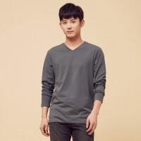 美特斯邦威t恤男士秋冬装修身V领显瘦纯色套头衫青少年韩版潮流