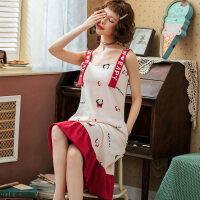 吊带睡裙女夏季纯棉薄款带胸垫睡衣少女可爱性感公主风孕妇家居服