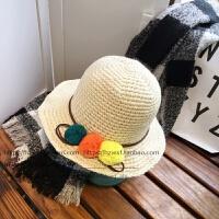 韩版亲子加厚毛球针织毛线帽儿童女士折叠黑色渔夫盆帽子保暖秋冬