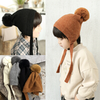 儿童毛线长辫子帽子男童女童针织帽宝宝保暖护耳帽