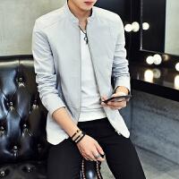 夹克男青年秋季新款韩版修身薄款纯色棒球服男士运动外套潮男