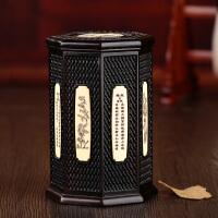 实木质茶叶筒包装盒子 黑檀木礼品礼盒红木普洱茶叶罐工艺品