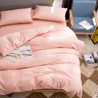 床品四件套水洗棉四件套大格纹纯色三件套日式