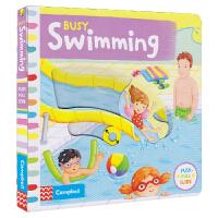 Busy Swimming 忙碌系列纸板机关书 游泳 机关操作书3-6岁 互动英语故事绘本 儿童英文原版进口图书