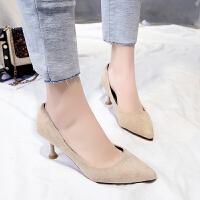 尖头浅口鞋细跟高跟鞋单鞋春季特大号41 特大码女鞋