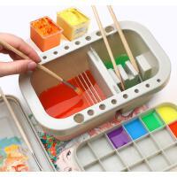 多功能洗笔桶水桶美术涮笔筒颜料绘画水粉水彩画画专用油画调色盘调色盒三合一