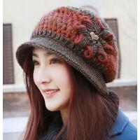 新品加厚时装帽毛线针织帽盆帽 女士羊毛帽女帽中老年妈妈帽