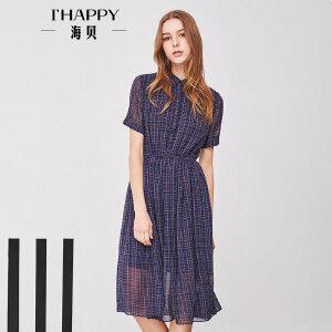 海贝夏季新款女装 翻领松紧收腰格子条纹中长款短袖连衣裙
