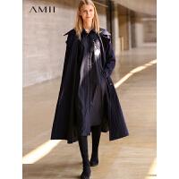 Amii极简英伦复古条纹棉衣女个性冬季新款大码收腰保暖气质长外套