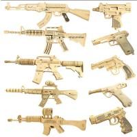 四联儿童玩具墙纸模型系列拼装 3d木质立体拼图 小孩子宝贝玩具diy男孩智力积木 AK-47 卡宾枪 左轮武器模型枪
