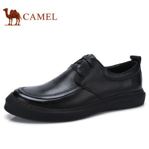 camel 骆驼男鞋 秋季新品低帮皮鞋男日常休闲牛皮系带防滑男鞋