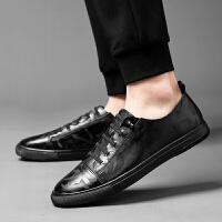 休闲皮鞋男板鞋夏季单层薄款潮透气潮鞋英伦韩版年轻人都市男鞋夏季百搭鞋