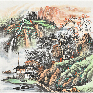 当代著名画家   薛永山居图gs01439