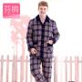 芬腾睡衣男士夹棉三层加厚冬季新款格子长袖开衫休闲长裤家居服套装 9658232