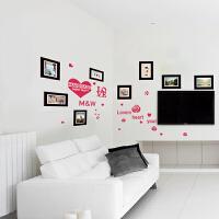 照片墙贴纸创意墙壁贴画卧室温馨浪漫床头墙纸自粘相片贴爱心相框