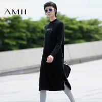 【2000爆款,满200减100包邮】AMII[极简主义]冬新款欧美纯色高领针织长袖连衣裙女11692374
