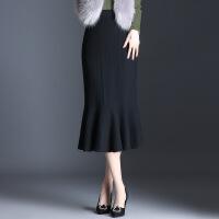 针织毛线半身裙秋冬2018新款弹力修身显瘦包臀裙皱褶鱼尾一步裙 黑色 均码