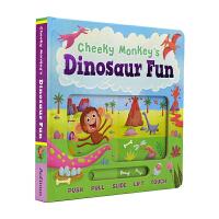 Cheeky Monkey's Dinosaur Fun 小猴子的恐龙之旅 故事绘本纸板操作书 幼儿启蒙认知 儿童英文
