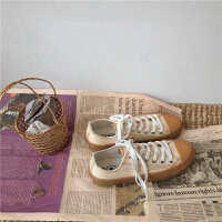 高低帮帆布鞋女米黄色2019ins韩版百搭学生布鞋潮潮港风板鞋夏季百搭鞋